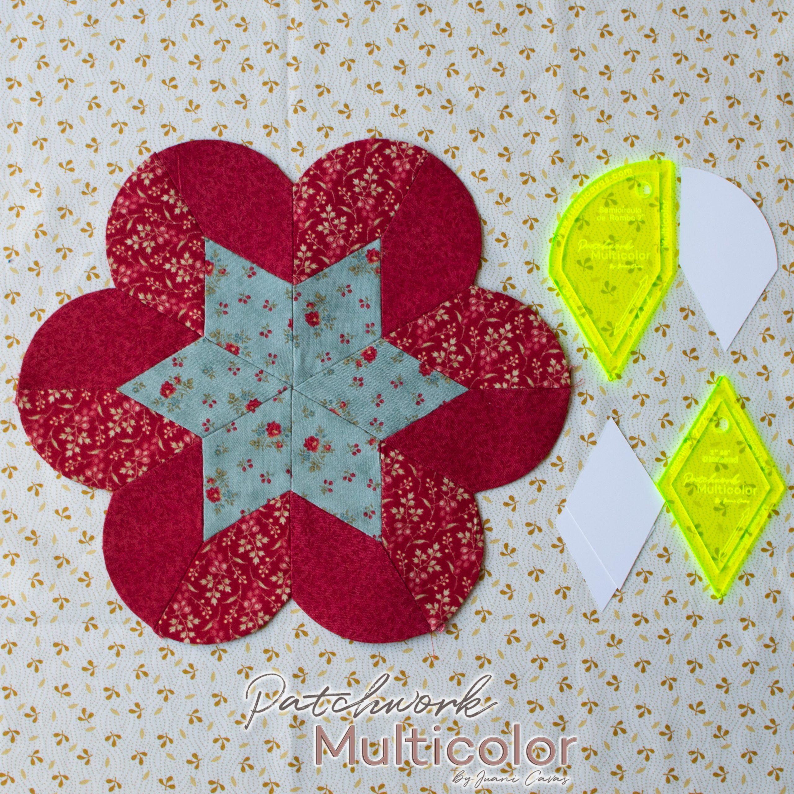 flores de patchwork rombos y semicirculos