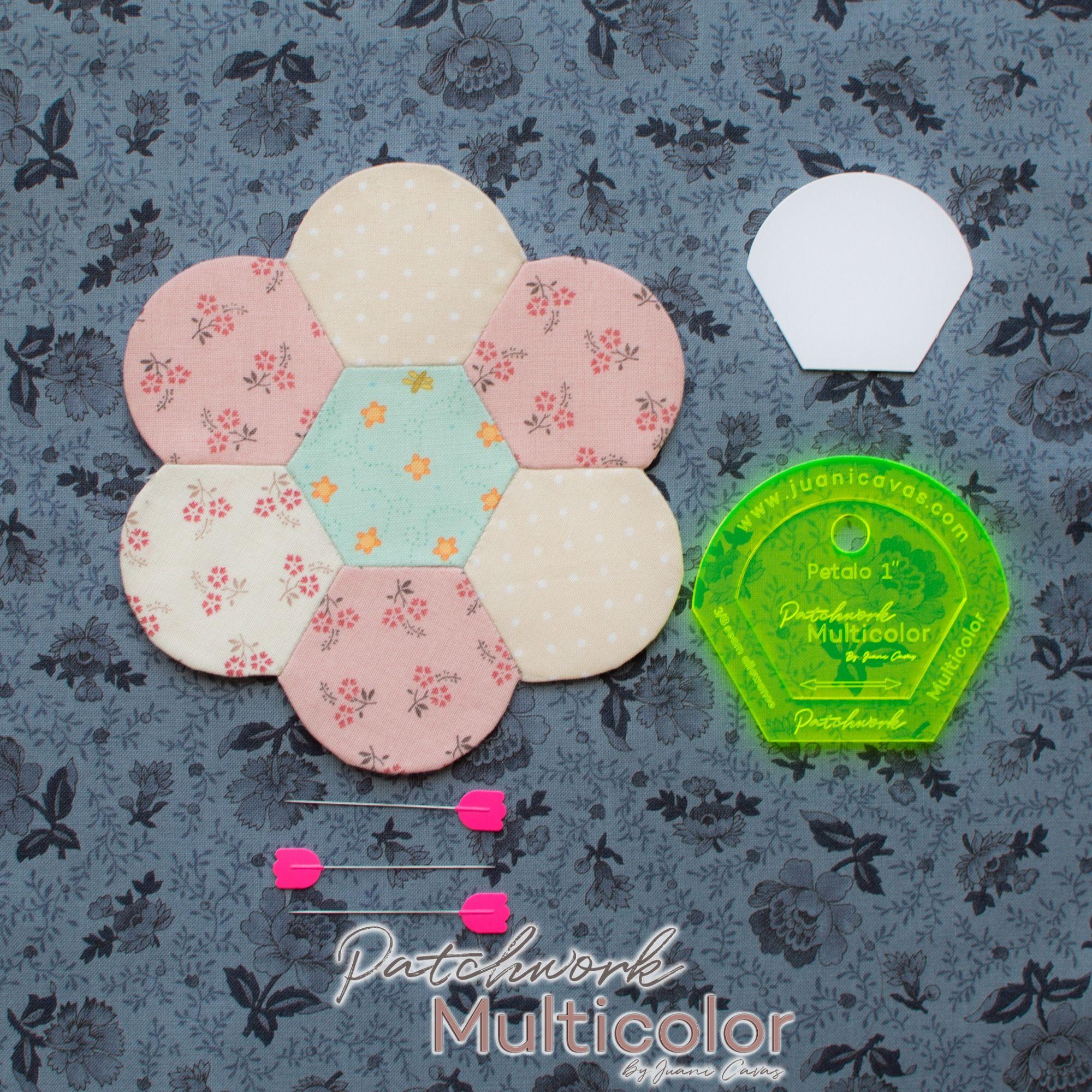flor de patchwork hexagonos petalo