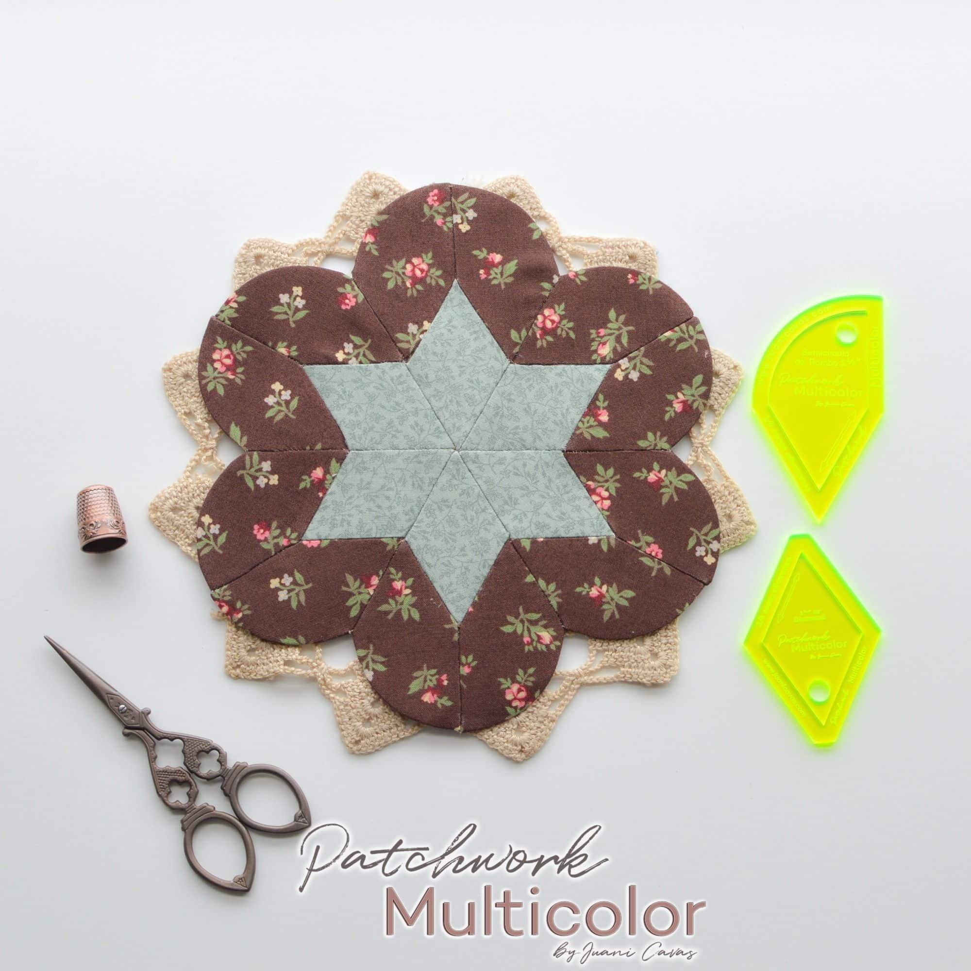 flor de patchwork rombo y semicirculo