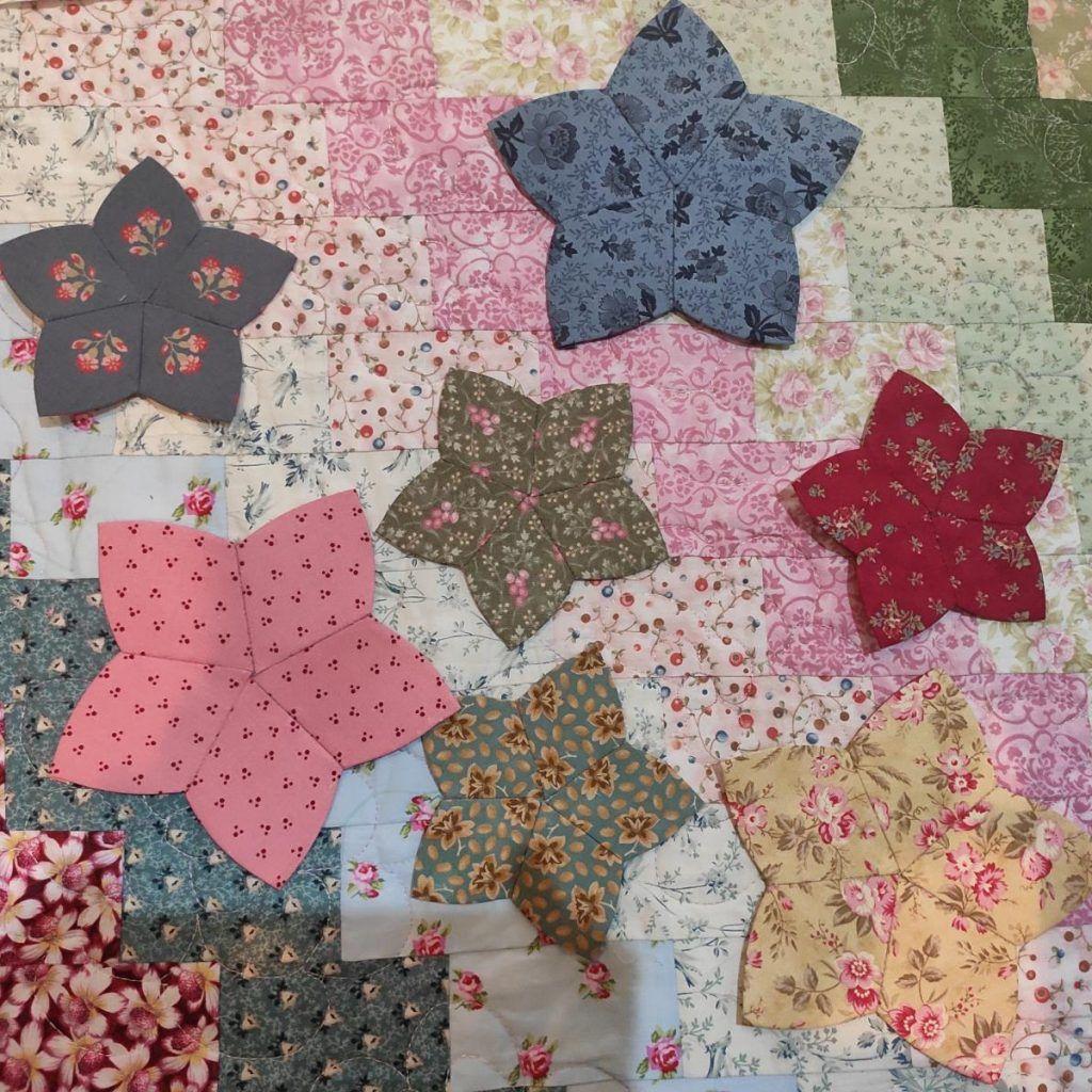 flores de patchwork rombos