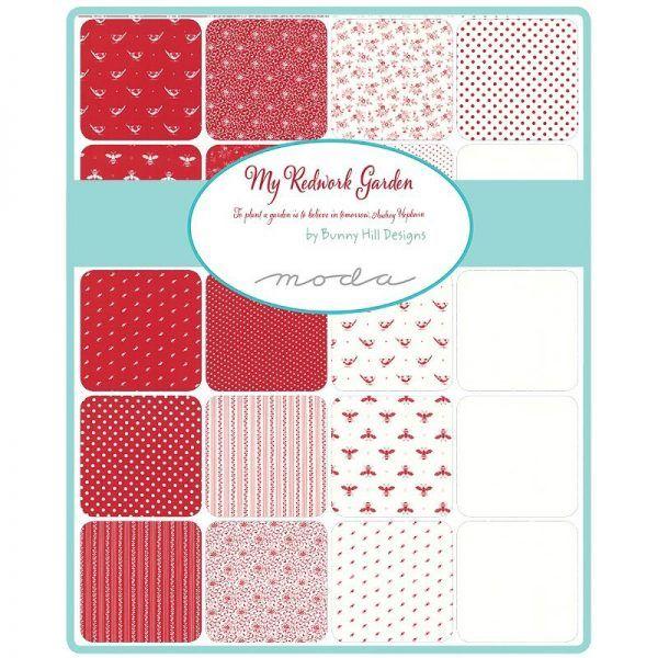 Precortados My redworkd Garden Bunny Hill Designs para Moda Fabrics