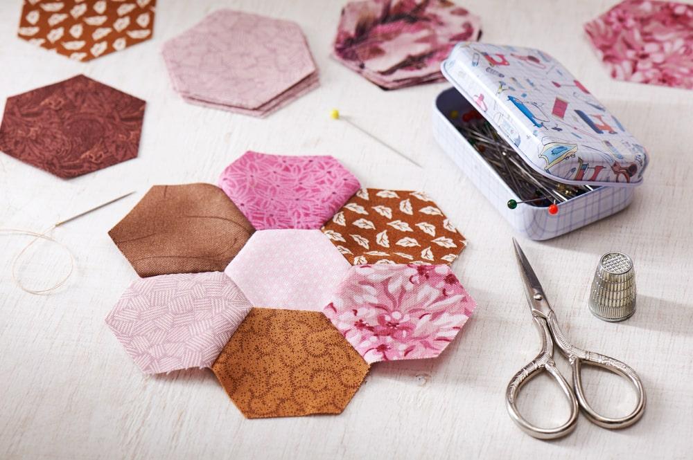flor de patchwork hexagonos