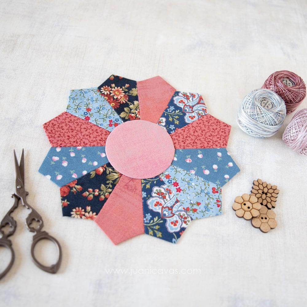 flores de patchwork plato dresden