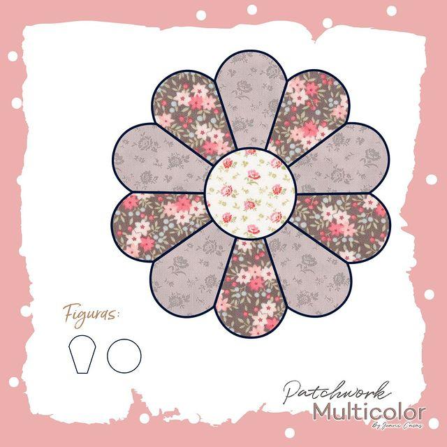 flor de patchwork plato dresden